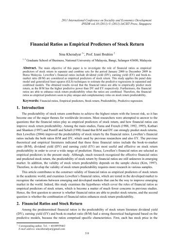 financial ratios and stock return evidence Linear versus non‐linear relationships between financial ratios and stock  returns: empirical evidence from egyptian firms author(s): mohammed omran .