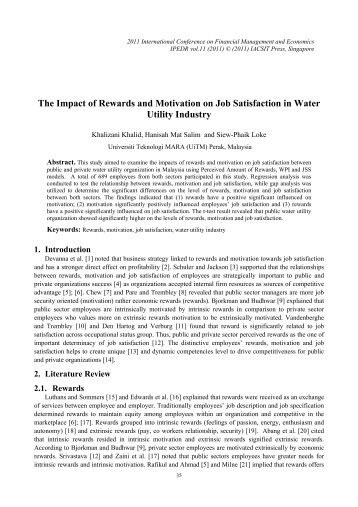 The Impact of Rewards and Motivation on Job Satisfaction in ... - ipedr