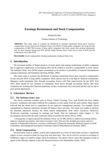 Earnings Restatement and Stock Compensation - ipedr