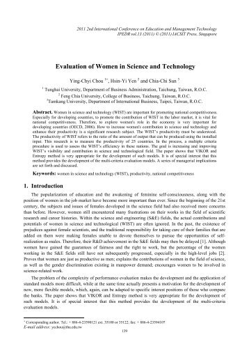 Evaluation of Women in Science and Technology - ipedr