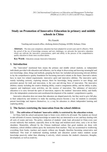 Study on Promotion of Innovative Education in primary and ... - ipedr