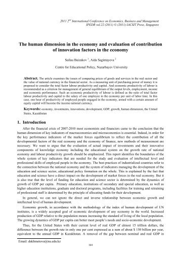 The human dimension in the economy and evaluation of ... - ipedr