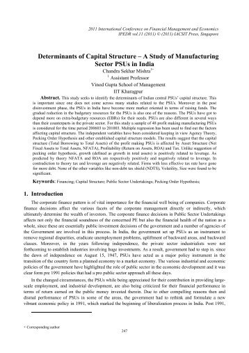 Determinants of Capital Structure – A Study of Manufacturing ... - ipedr