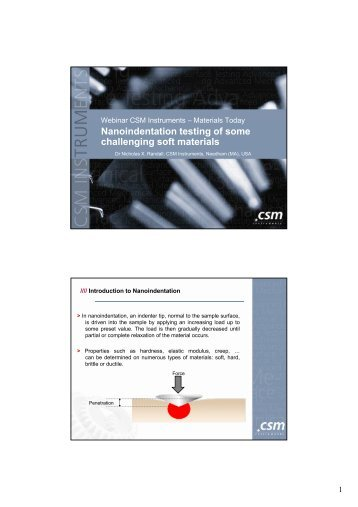 Nanoindentation testing of some challenging soft ... - CSM Instruments