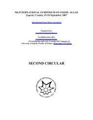 9th INTERNATIONAL SYMPOSIUM ON FOSSIL ALGAE