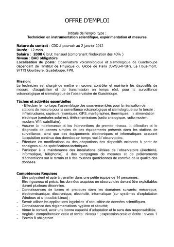 Deborah sicilia institut de physique du globe de paris - Offre d emploi pret a porter paris ...