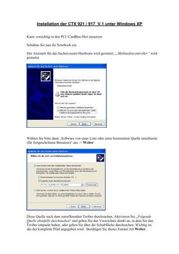 Installation der CTX 921 / 917 V.1 unter Windows XP - CREATIX
