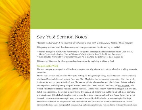Say Yes! Sermon Notes