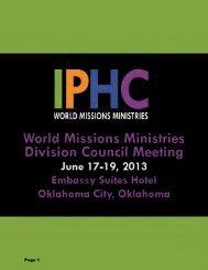 June 2013 Council Agenda - International Pentecostal Holiness ...