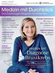 Patientenmagazin Medizin mit Durchblick, 1. Ausgabe, Mai 2013