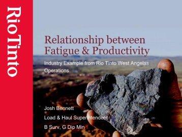 Relationship between fatigue & productivity. Industry ... - ICMM