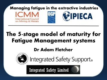 Five stage model of maturity for fatigue risk management - ICMM