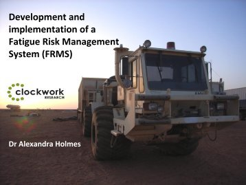 Development and Implementation of a Fatigue Management ... - ICMM
