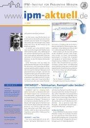 Ausgabe 1/2008 - IPM - Institut für Präventive Medizin