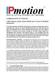 COMMUNIQUÉ DE PRESSE 1.250 nouveaux ... - IPmotion GmbH
