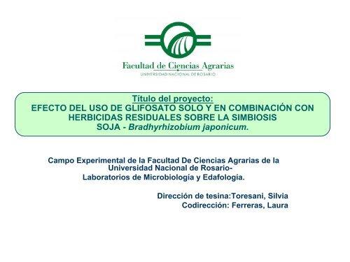 EFECTO DEL USO DE GLIFOSATO SOLO Y EN COMBINACIÓN ...