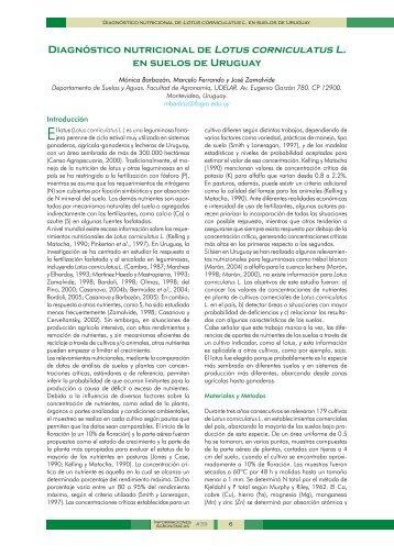 Diagnóstico nutricional de Lotus corniculatus L. en suelos de Uruguay