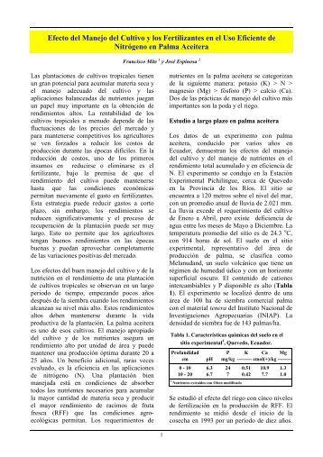 Efecto de Fertilizantes y Manejo de cultivo en la eficiencia del uso ...