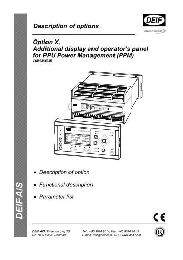 DEIF A/S PPU Power Management (PPM)