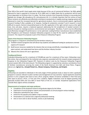 K Fellowship Request for Proposals - International Plant Nutrition ...