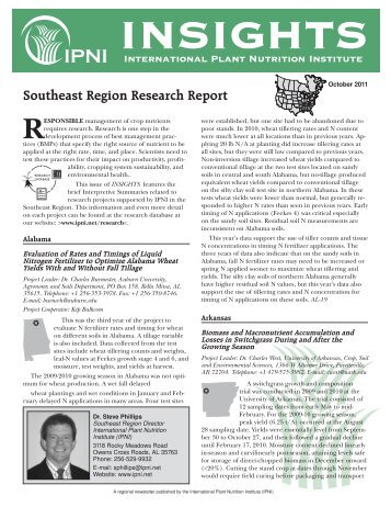 Southeast Region Research Report - International Plant Nutrition ...