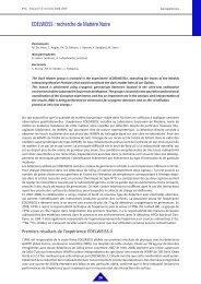 EDELWEISS : recherche de Matière Noire - IPNL - IN2P3
