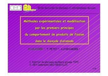 Méthodes expérimentales et modélisation par les premiers ... - IPNL