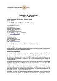stage et thèse CRAL/IPNL - IPNL - IN2P3