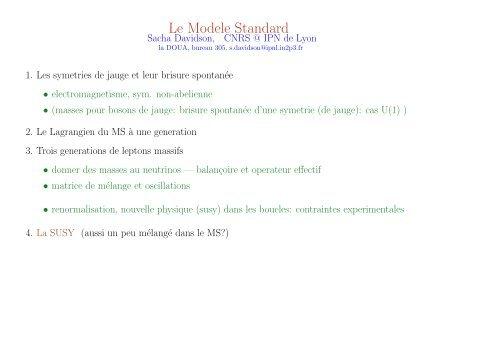 Le Modele Standard Ipnl In2p3