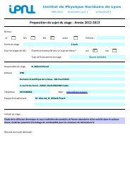 Proposition de sujet de stage - Année 2012-2013 - IPNL - IN2P3