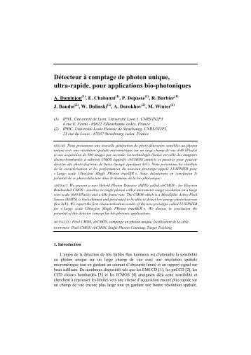 Détecteur à comptage de photon unique, ultra-rapide ... - IPNL - IN2P3