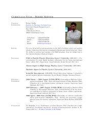 Curriculum Vitae – Robert Kieffer - IPNL - IN2P3