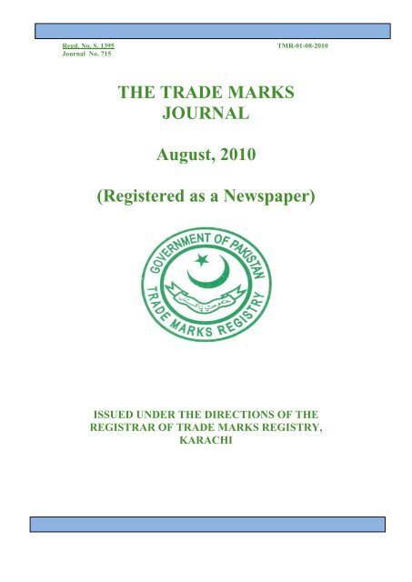 The Trade Marks Journal August 2010 Ipo Pakistan