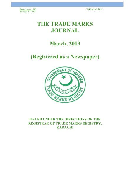 The Trade Marks Journal March 2013 Ipo Pakistan