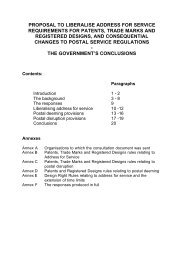 proposal to liberalise address for service requirements for patents ...