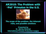 The Problem With 'Pet' - International Primate Protection League