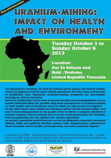 """Uranium-mining: Impact on Health and Environment - ippnw"