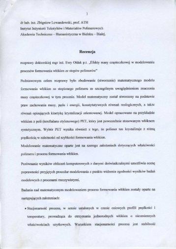 dr hab. Zbigniew Lewandowski, prof. ATH Instytut Inżynierii ...