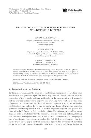 TRAVELLING CALCIUM WAVES IN SYSTEMS WITH ... - IPPT PAN