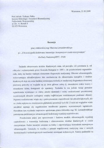 Warszawa, 21.05.2009 Prof. dr hab. Tadeusz Palko - IPPT PAN