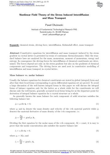 Nonlinear Field Theory of the Stress Induced Interdiffusion and Mass ...