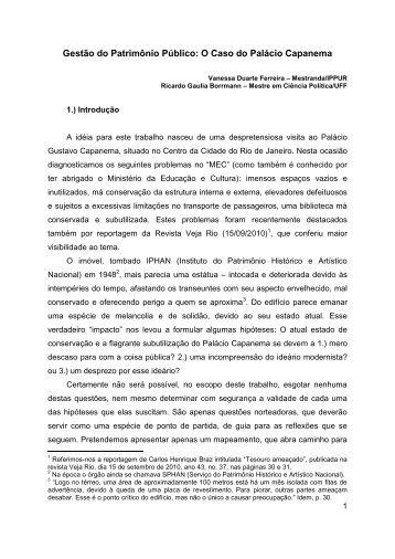 Gestão do Patrimônio Público: O Caso do Palácio ... - Ippur - UFRJ
