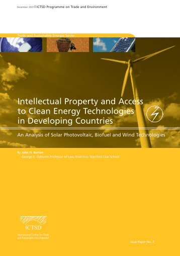Intellectual Property and Access to Clean Energy Technologies in ...