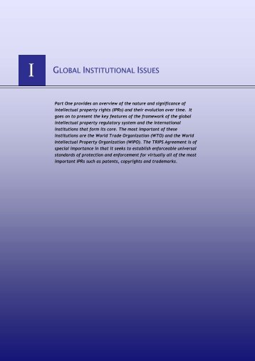 GLOBAL INSTITUTIONAL ISSUES - IPRsonline.org