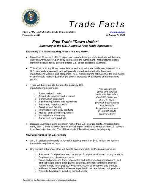 Summary of the U S -Australia Free Trade Agreement - IPRsonline org