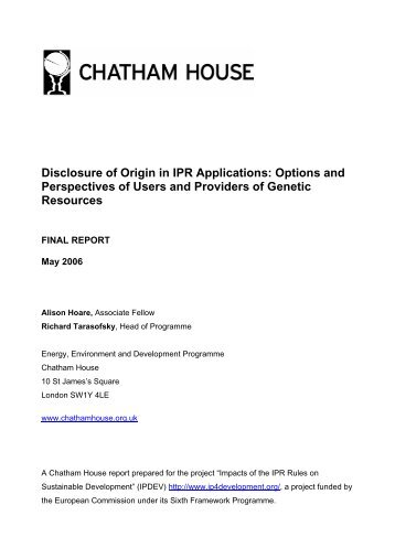 Disclosure of Origin in IPR Applications - IPRsonline.org