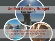 Unified Security Budget (Fiscal Year 2013)