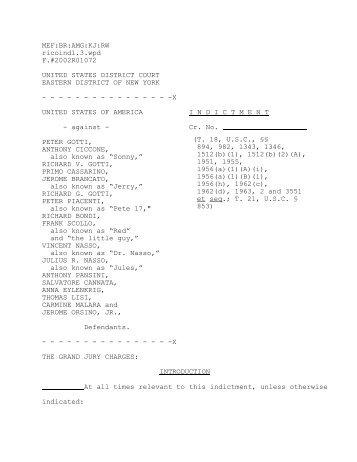Indictment of Gambino family members
