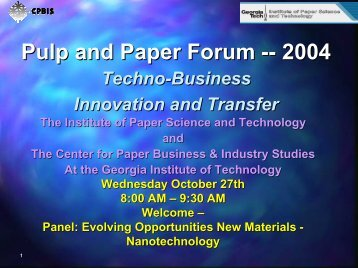 Why Nanotechnology? - Institute of Paper Science and Technology ...