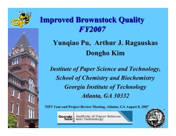 Improved Brownstock Quality FY2007 - Institute of Paper Science ...